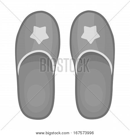 Slippers icon in monochrome design isolated on white background. Sleep and rest symbol stock vector illustration.