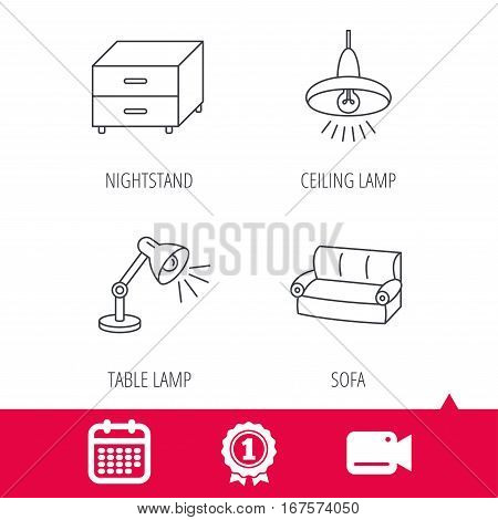 Achievement and video cam signs. Sofa, table lamp and nightstand icons. Ceiling lamp linear sign. Calendar icon. Vector