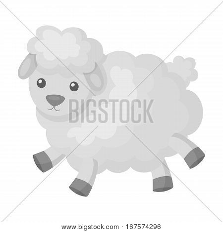 Toy sheep icon in monochrome design isolated on white background. Sleep and rest symbol stock vector illustration.