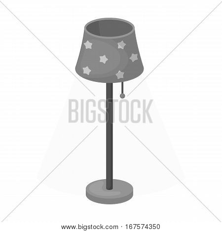 Floor lamp icon in monochrome design isolated on white background. Sleep and rest symbol stock vector illustration.