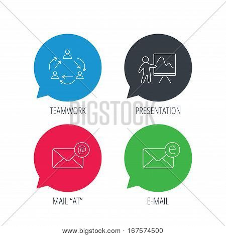 Colored speech bubbles. Teamwork, presentation and e-mail icons. E-mail inbox linear sign. Flat web buttons with linear icons. Vector