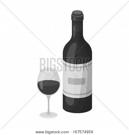 Spanish wine bottle with glass icon in monochrome design isolated on white background. Spain country symbol stock vector illustration.