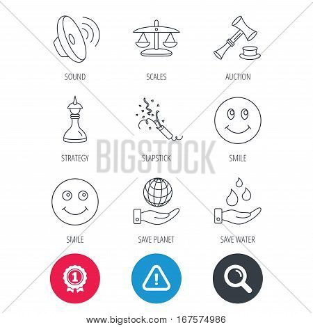 Achievement and search magnifier signs. Scales of justice, auction hammer and strategy icons. Save planet and water linear signs. Smile, slapstick icons. Hazard attention icon. Vector