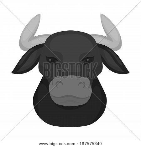 Head of bull icon in monochrome design isolated on white background. Spain country symbol stock vector illustration.