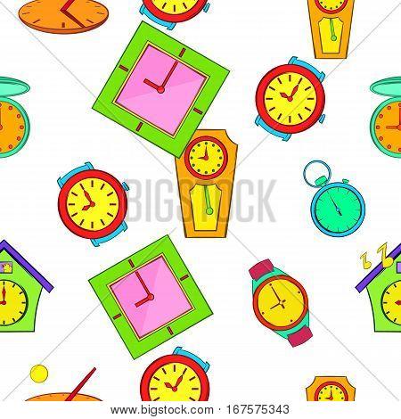 Kinds of clocks pattern. Cartoon illustration vector pattern for web