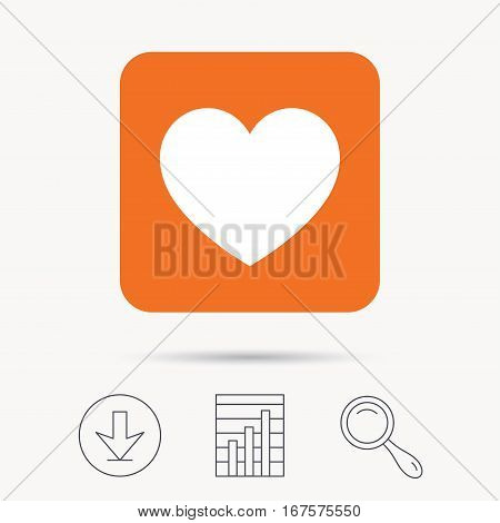 Heart icon. Romantic love symbol. Report chart, download and magnifier search signs. Orange square button with web icon. Vector