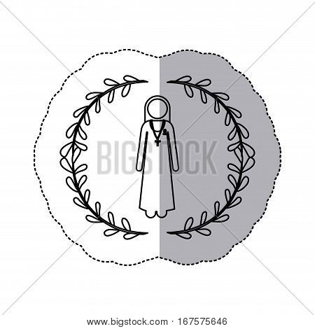 sticker slhouette arch of leaves and nun with ribbon of breast cancer vector illustration