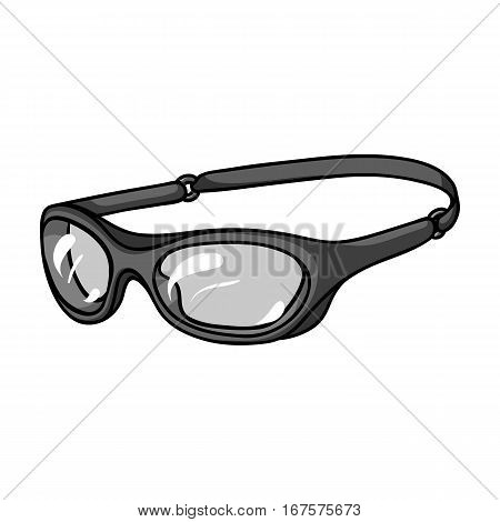 Glasses for swimming icon in monochrome design isolated on white background. Surfing symbol stock vector illustration.