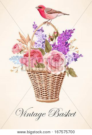 Vector illustration of vintage basket with beautiful roses and lilac