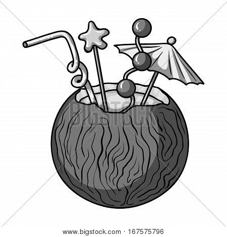 Coconut cocktail icon in monochrome design isolated on white background. Surfing symbol stock vector illustration.