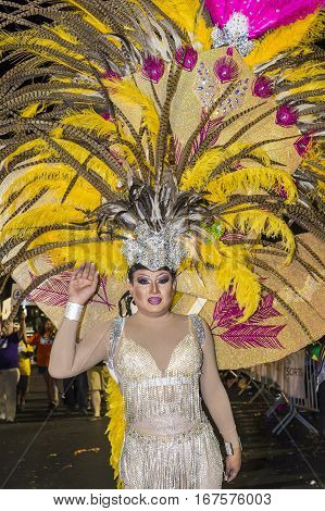 LAS VEGAS - OCT 21 : An unidentified participant at the annual Las Vegas Gay pride night parade on October 21 2016