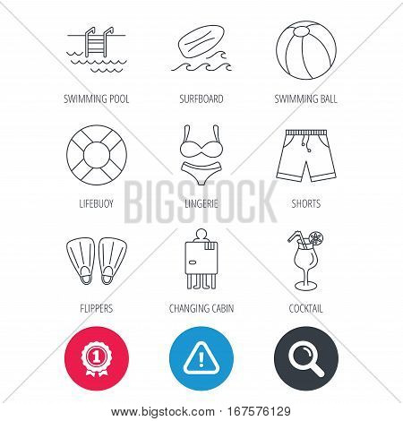 Achievement and search magnifier signs. Surfboard, swimming pool and trunks icons. Beach ball, lingerie and shorts linear signs. Lifebuoy, cocktail and changing cabin icons. Hazard attention icon