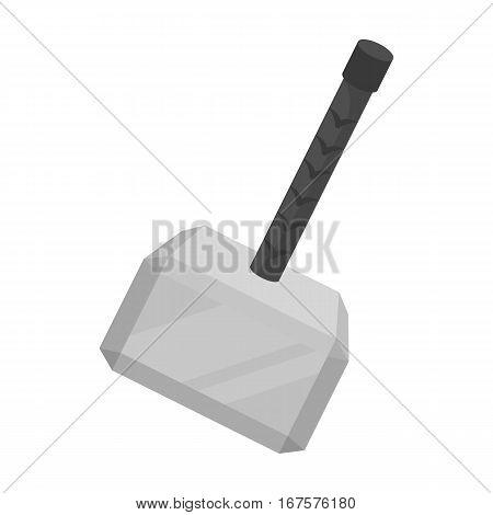Viking battle hammer icon in monochrome design isolated on white background. Vikings symbol stock vector illustration.