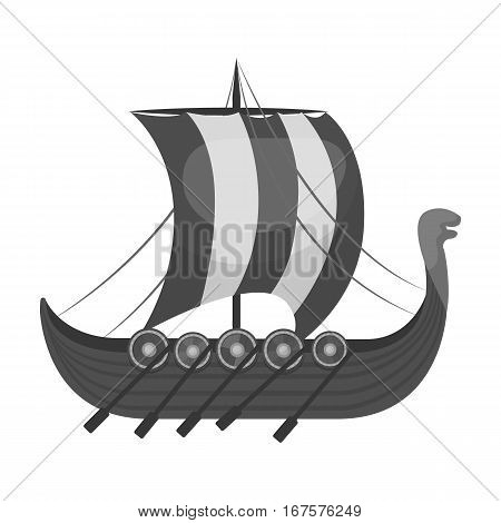 Viking's ship icon in monochrome design isolated on white background. Vikings symbol stock vector illustration.
