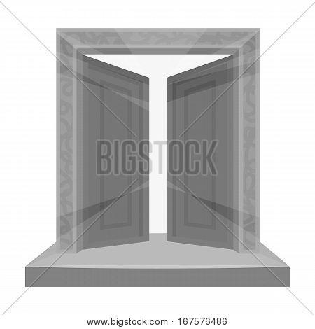 Gates to Valhalla icon in monochrome design isolated on white background. Vikings symbol stock vector illustration.