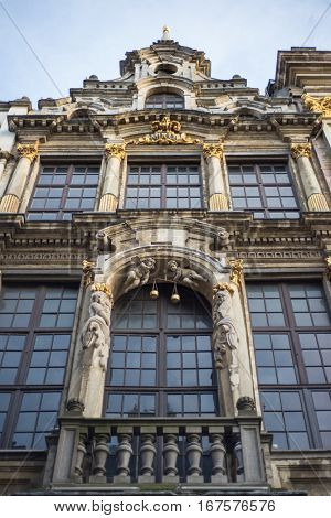 Wall of medieval gothic city hall in Grand Place