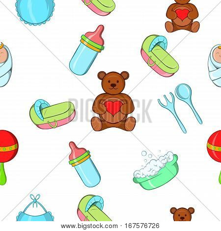 Things for baby pattern. Cartoon illustration of things for baby vector pattern for web