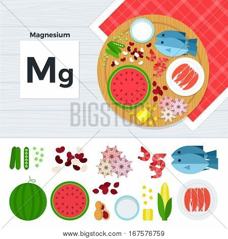 Vitamin Mg vector flat illustrations. Foods containing vitamin Mg on the table. Source of vitamin Mg: watermelon, fish, corn, seafood, pea isolated on white background