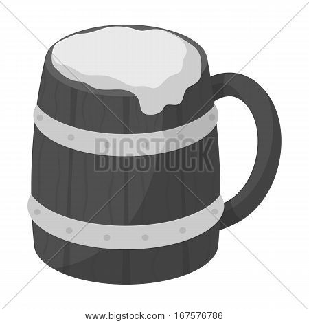 Viking ale icon in monochrome design isolated on white background. Vikings symbol stock vector illustration.
