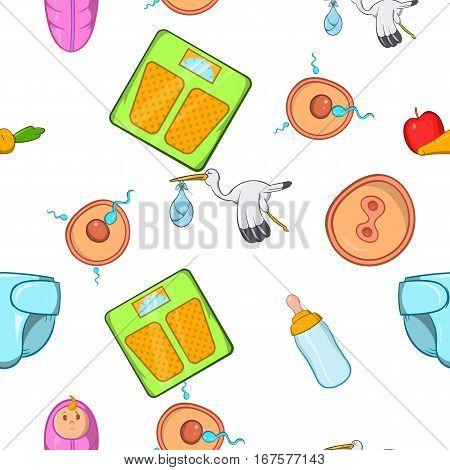 Pregnancy pattern. Cartoon illustration of pregnancy vector pattern for web