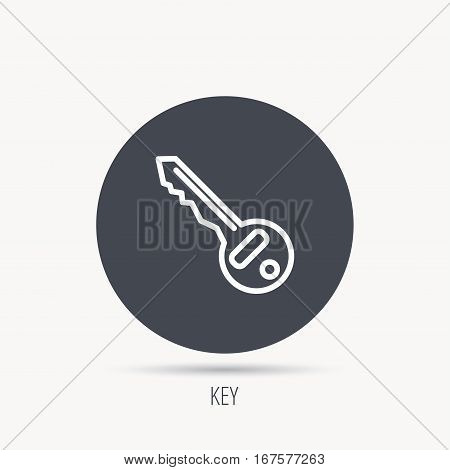 Key icon. Door unlock tool sign. Round web button with flat icon. Vector
