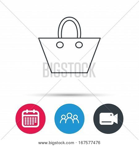 Ladies handbag icon. Elegance women accessory sign. Group of people, video cam and calendar icons. Vector