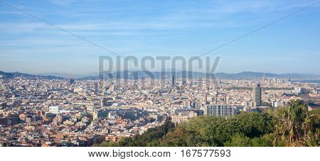 Bird's eye view of Barcelona , Spain
