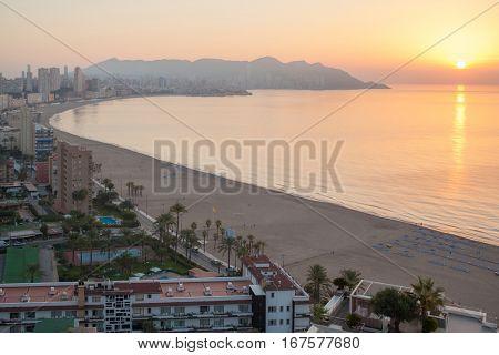 Benidorm sunset Alicante playa de Levante beach