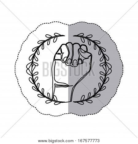 sticker with contour ornament leaves with closed hand symbol support breast c ncer vector illustration
