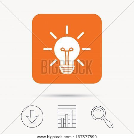 Light bulb icon. Lamp sign. Illumination technology symbol. Report chart, download and magnifier search signs. Orange square button with web icon. Vector