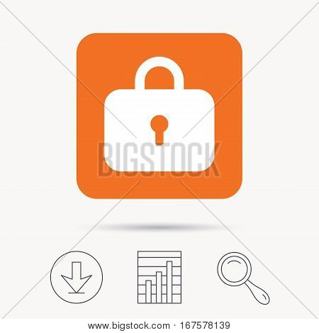 Lock icon. Privacy locker sign. Closed access symbol. Report chart, download and magnifier search signs. Orange square button with web icon. Vector