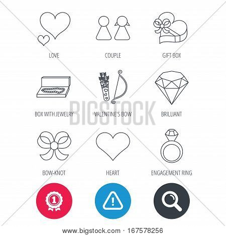 Achievement and search magnifier signs. Love heart, brilliant and engagement ring icons. Bow, couple and gift box linear signs. Valentine amour arrows flat line icons. Hazard attention icon. Vector
