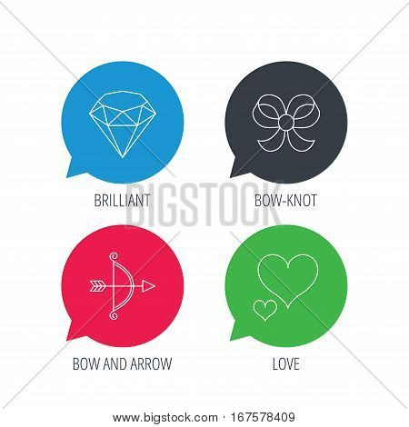 Colored speech bubbles. Love heart, brilliant and bow-knot icons. Bow and arrow linear signs. Flat web buttons with linear icons. Vector