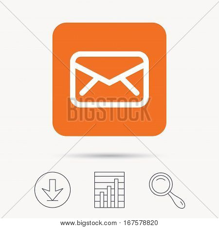 Envelope icon. Send email message sign. Internet mailing symbol. Report chart, download and magnifier search signs. Orange square button with web icon. Vector