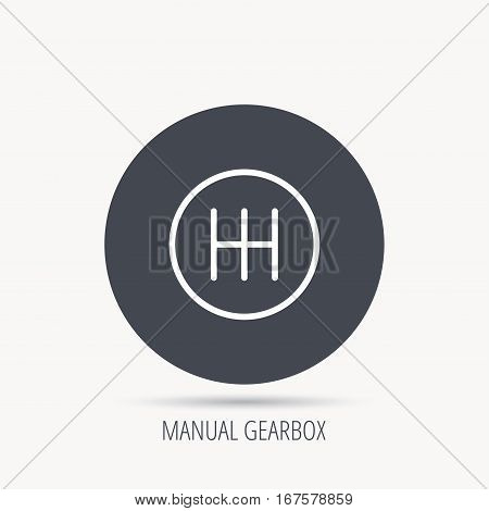 Manual gearbox icon. Car transmission sign. Round web button with flat icon. Vector