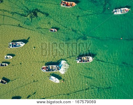 Aerial View Fishing Boats In Harbor