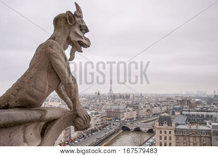 One of famous Chimera on the Not-re Dame
