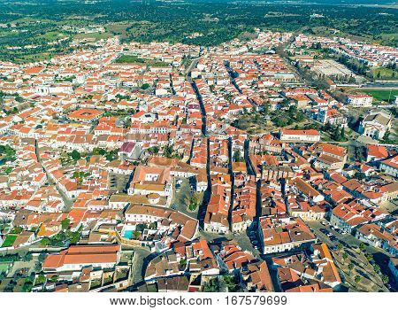 Aerial View Red Tiles Roofs