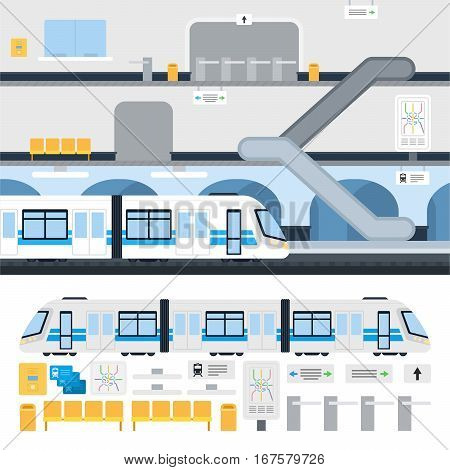 Metro station and passenger train vector flat illustration. Set with train, map, moving staircase, navigation, passenger seats, turnstile for website infographics. Isolated on white background.