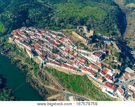 Aerial View Of The Fortified Village Mertola
