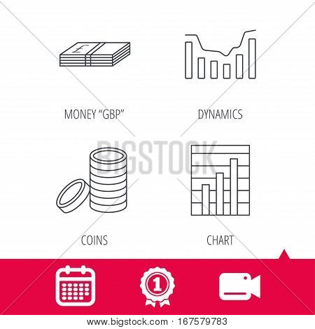 Achievement and video cam signs. Cash money and dynamics chart icons. Coins linear sign. Calendar icon. Vector