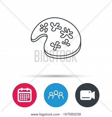 Painting icon. Artistic tool sign. Group of people, video cam and calendar icons. Vector