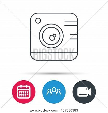 Vintage photo camera icon. Photography sign. Professional studio equipment symbol. Group of people, video cam and calendar icons. Vector