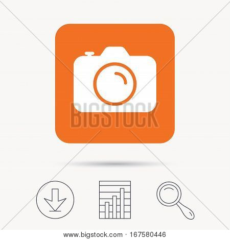 Camera icon. Professional photocamera symbol. Report chart, download and magnifier search signs. Orange square button with web icon. Vector