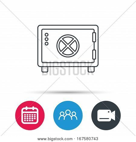 Safe icon. Money deposit sign. Circle handle symbol. Group of people, video cam and calendar icons. Vector