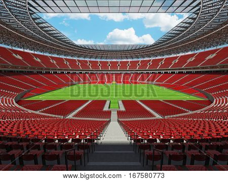 3D Render Of A Round Football -  Soccer Stadium With Red Seats And Vip Boxes