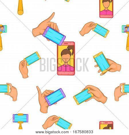 Photo on mobile phone pattern. Cartoon illustration of photo on mobile phone vector pattern for web