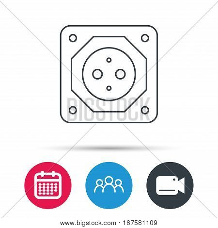 European socket icon. Electricity power adapter sign. Group of people, video cam and calendar icons. Vector
