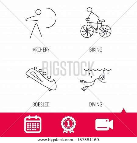 Achievement and video cam signs. Diving, biking and archery icons. Bobsled linear sign. Calendar icon. Vector