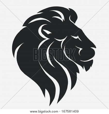 Lion logo. Black Mascot head, wild animal portrait emblem, predator face silhouette, Hand drawn cat Emblem t-shirt design. Vector